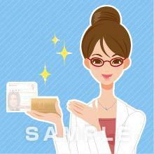 B12-22 商品を案内する女性イラスト