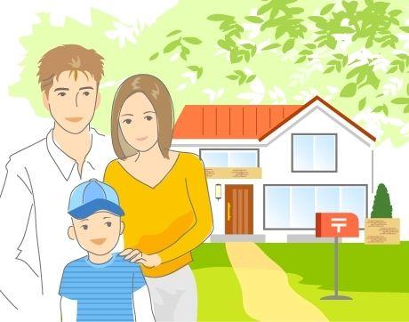 B14-01 シンプルタッチ家族・医療系イラスト制作例(家の前の親子)
