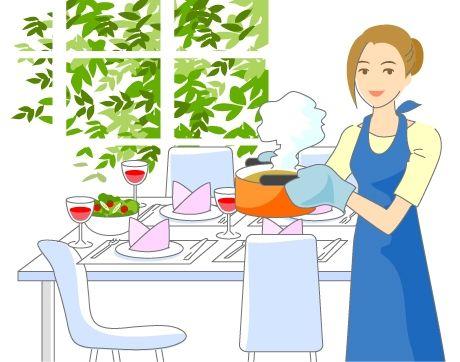 B14-02 シンプルタッチ家族・医療系イラスト制作例(料理する女性)