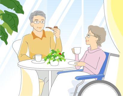 B14-03 シンプルタッチ家族・医療系イラスト制作例(車椅子で寛ぐ高齢者夫婦)