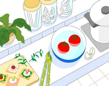 B14-05 シンプルタッチ家族・医療系イラスト制作例(キッチン風景)