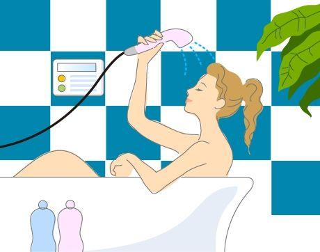 B14-06 シンプルタッチ家族・医療系イラスト制作例(シャワーを浴びる女性)