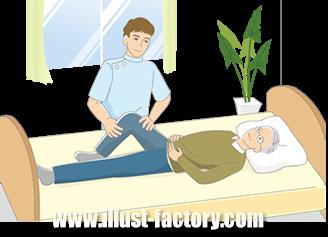 B14-10 シンプルタッチ家族・医療系イラスト制作例(ベッドでマッサージを受ける男性)