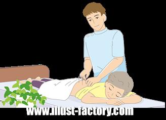 B14-12 シンプルタッチ家族・医療系イラスト制作例(鍼治療を受ける女性)