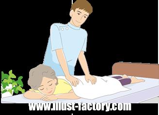 B14-13 シンプルタッチ家族・医療系イラスト制作例(マッサージを受ける女性)