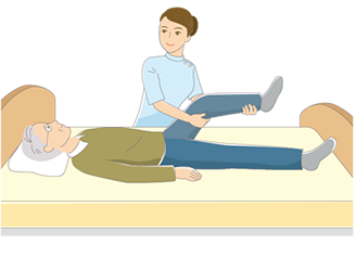 B14-14 シンプルタッチ家族・医療系イラスト制作例(リハビリを受ける男性)