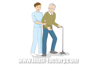 B14-15 シンプルタッチ家族・医療系イラスト制作例(リハビリを受ける男性)