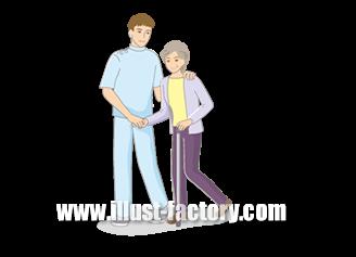B14-16 シンプルタッチ家族・医療系イラスト制作例(歩行訓練を受ける女性)
