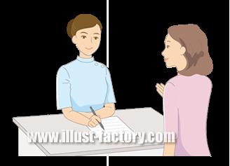 B14-17 シンプルタッチ家族・医療系イラスト制作例(受付)