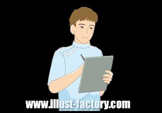 B14-18 シンプルタッチ家族・医療系イラスト制作例(メモをとる男性)