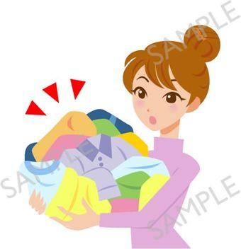 B17-02 洗濯物を持つ女性のイラスト(白目なし)