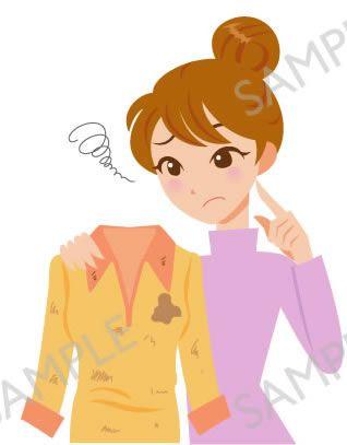 B17-04 衣服の汚れ、シミをイメージする女性イラスト(白目なし)