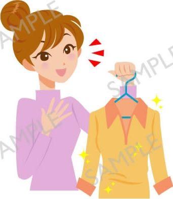 B17-06 クリーニングで綺麗になった洋服持つ女性のイラスト(白目なし)