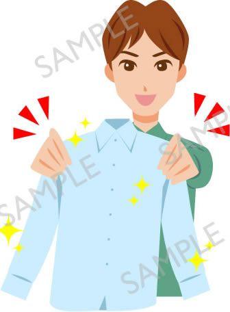 B17-12 綺麗になったシャツを持つ男性イラスト(白目なし)