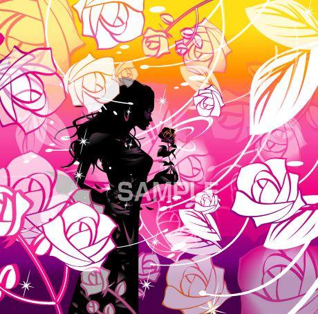 B18-01 薔薇を持つ女性のシルエットイラスト