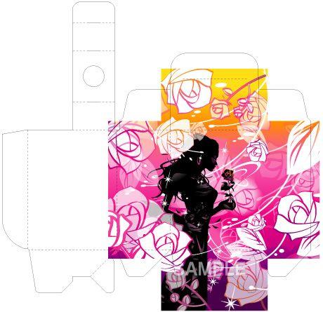 B18-02 薔薇を持つ女性のシルエットイラスト(展開図)