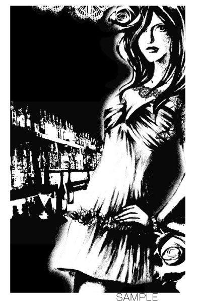 B19-01 BARにいる女性のイラスト