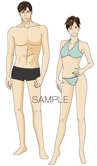 B20-02 シンプル男女モデルイメージイラスト制作例(水着の男女)