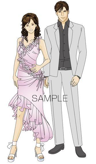 B20-03 シンプル男女モデルイメージイラスト制作例(ドレスアップした男女)