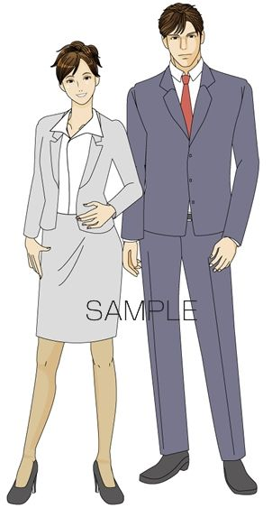 B20-04 シンプル男女モデルイメージイラスト制作例(スーツ姿の男女)