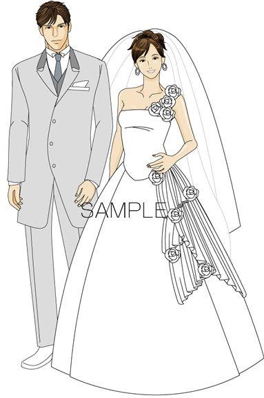 B20-05 シンプル男女モデルイメージイラスト制作例(結婚式)