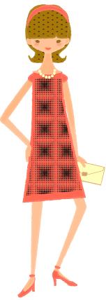 B23-02 女性イラスト ワンピースドレス