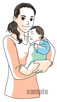 B24-03 漫画風タッチ親子・子育てイラスト制作例(母親と赤ちゃん)