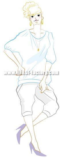 B27-02 アパレル、コスメ系向け女性イラスト