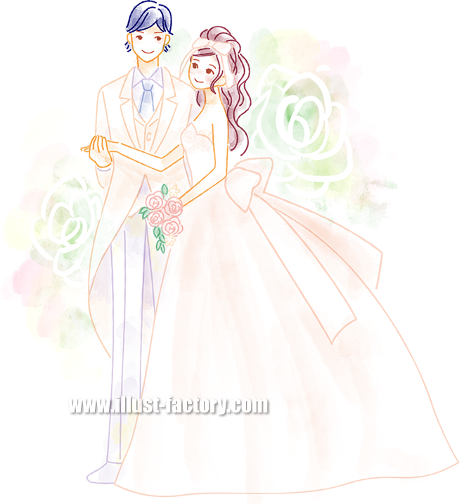 B52-01 柔らかい水彩風タッチ男女イラスト制作例(結婚式・ウエディングドレス)