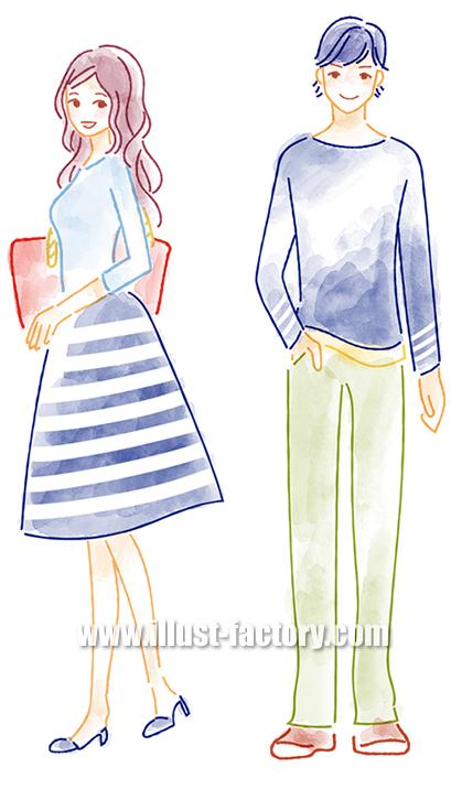 B52-02 柔らかい水彩風タッチ男女イラスト制作例(若い男女)