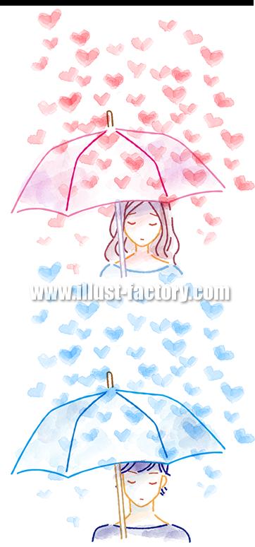 B52-03 柔らかい水彩風タッチ男女イラスト制作例(傘をさす男女)