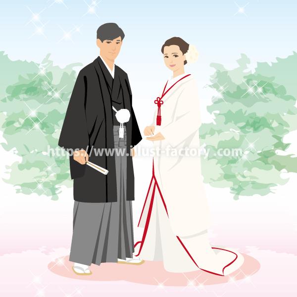 B63-1 線無しシンプルタッチ結婚式のイラスト制作例(和装結婚式)