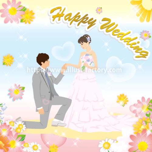 B63-2 線無しシンプルタッチ結婚式のイラスト制作例(洋装結婚式)