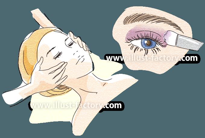 B64-04 メイクアップ女性のイラスト制作 フェイスマッサージ