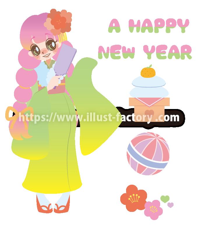B71 お正月、羽根つき、鏡餅、手毬、梅、和服の女性