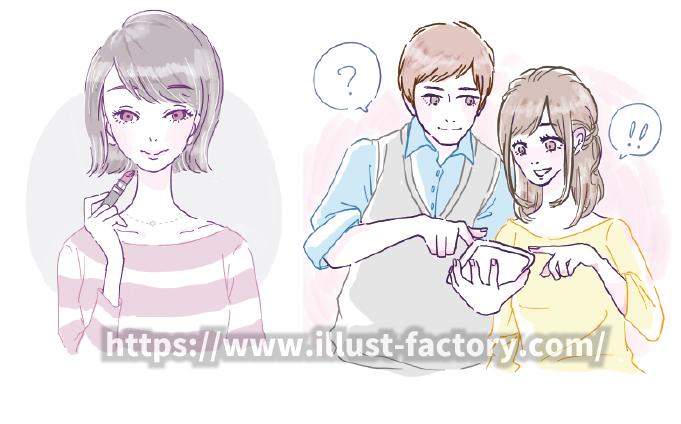 B72-01 優しい色合いの手描き風タッチイラスト制作例(メイクする女性・タブレットを見るカップル)