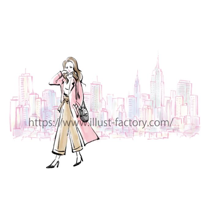 B74 筆ペン水彩タッチファッションイラスト制作例
