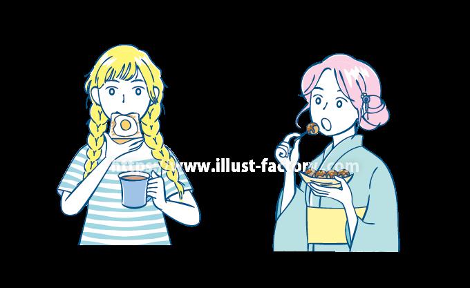 B76-1 シンプルタッチ食事する女の子イラスト制作例