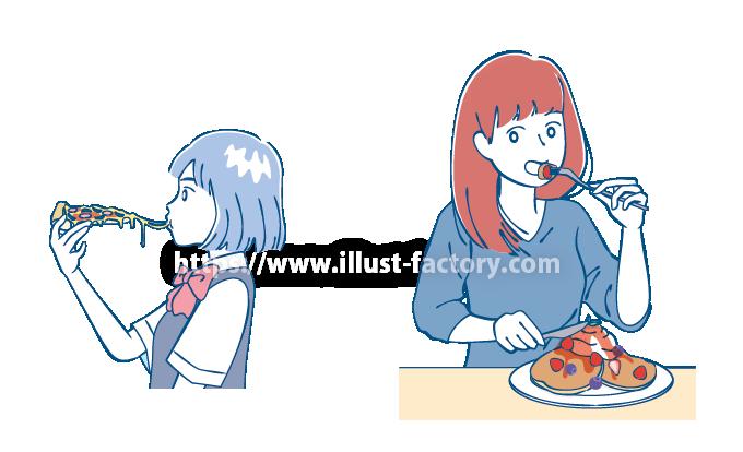 B76-2 シンプルタッチ食事する女の子イラスト制作例