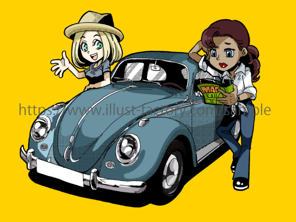 B77 アメコミタッチ車と女の子イラスト