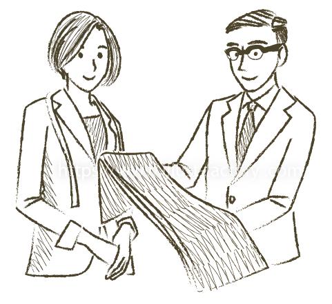 B85-03 鉛筆タッチビジネスシーン男女イラスト制作例(オーダースーツの生地を選ぶ)