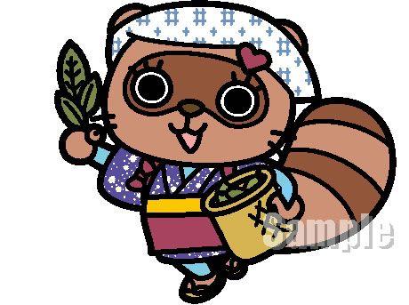 C54-04 タヌキキャラクター ぽぽ茶:茶摘みバージョン制作例 ポーズ展開