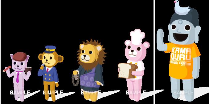 C74-01 動物のキャラクター 猫、猿、ライオン、熊、大仏