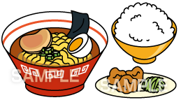 E15-3 ラーメン定食イラスト