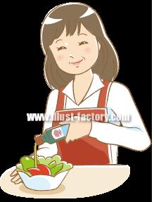 G101-09 料理をする女性 人物イラスト