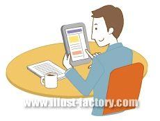 G102-03 カフェでタブレットを見る男性イラスト