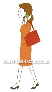 G102-04 スマートフォンで電話をする女性イラスト