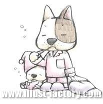 G129-01 歯磨きをする犬の家族イラスト