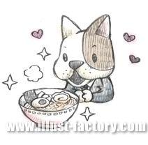 G129-03 ラーメンを食べる犬イラスト