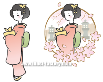G130-1 和風・和装 着物の女性イラスト 春